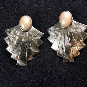 Faux pearl earrings.